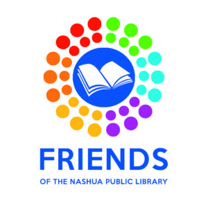 Friends of the Nashua Public Library logo, book inside circles of colorful dots
