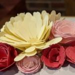 Paper flowers made with the Cricut die-cutting machine.