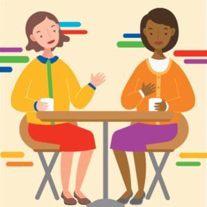 2 women conversing