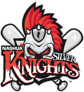 Nashua Silver Knights logo, showing a knight and two baseball bats