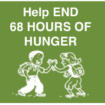 logo of End 68 Hours of Hunger, drawing of a girl and boy doing a high five