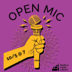 Open Mic, October 5 at 7 pm. Picture of a yellow hand holding a yellow mic.