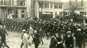 Company C marches to the railroad station