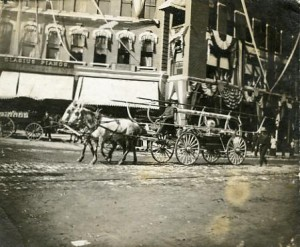 Two-horse drawn fire wagon